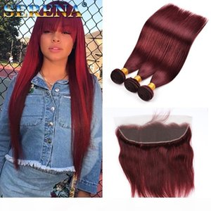 Color 99J Red Wine Brazilian Straight Human hair Weaves 4pcs lot 10-30inch Long Cheap Burgundy Color Brazilian Hair Extension With Frontal