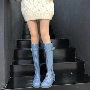 Fashion New Women Winter Long Boots Zipper Knee High Boots Casual Patent Leather High Ghost Emperor Big Size 33-42