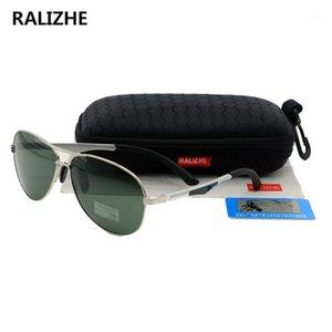 Ralizhe Qualidade Top Marca Designer Moda Mulheres Polarized Sunglasses Aviação Unisex Metal Classic Green Glasses dirigindo UV4001