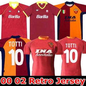 2000 2001 2002 Jersey de football Roma rétro 00 01 02 89 90 Totti Batistuta Candela Montella Classic Commemorer la collection Rome Maglia da Calcio