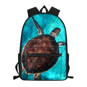 HYCOOL Girls Boys Backpack Blue Ocean Sea Turtle Shark Pattern Women Book Bag Female Schoolbag Travel Laptop Storage Rucksack A1113