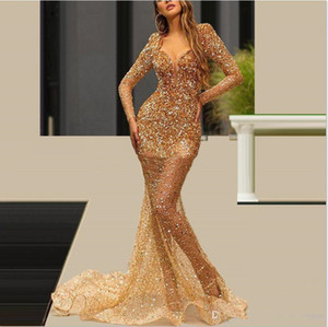 Great Gatsby Beaded Crystal Women Prom Dresses 2021 Couture Gold Mermaid Party Gowns Saudi Arabia Illusion Pageant Evening Dress