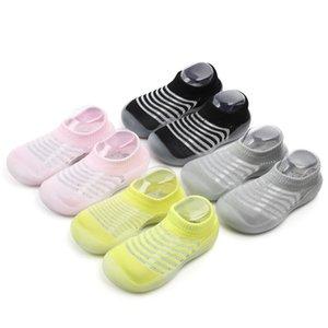 Baby Boy Girls Shoes Socks Breathable Net Shoes Summer Color Stripes First Walker Toddler Shoes Floor Socks Y201028