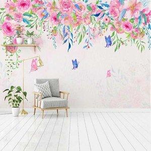 Custom Wallpaper Romantic Hand Painted Pink Flower Butterfly 3D Mural Bedroom Living Room Sofa TV Background Papel De Parede 3D1