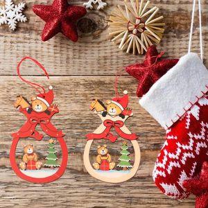 Tree Decorations Colorful Creative Christmas Pendants Santa Claus Milu Deer Pendant Xmas Carved Wood Slice Ornament OWF2247