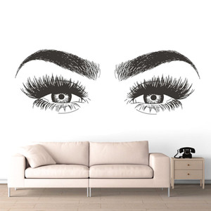 Beauty Salon Decoration Long Lashes Vinyl Wall Sticker Eyelashes Eyebrows Vinyl Decal Removable Eye Lashes Wallpaper AZ139 Z1118