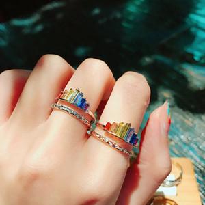 Anello rainbow a doppia banda, anelli arcobaleno regolabili a banda larga, miglior regalo per tua figlia e bestie