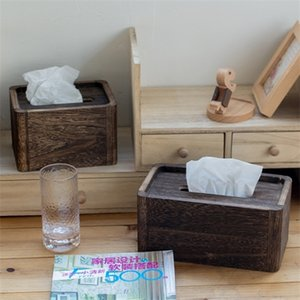 Wooden Tissue Containers vintage burnt paulownia paper box Household hotel napkins Storage Z1123