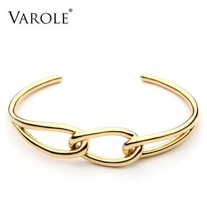 VAROLE Knot Cuff Bracelet Manchette Gold Silver Color Bangle Bracelet For Women Bracelets Bangles Jewelry Wholesale Pulseiras