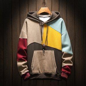 April Momo 2020 Sweats Sweatshirts Plus Taille Patchwork Contraste Contraste Couleur Casual Chemise Hommes Hommes Trui Hip Hop Sweat à capuche