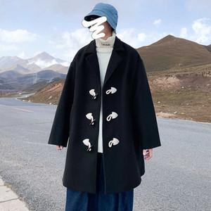 Botón de cuerno de ganado invierno espesado medio longitud suelta hombres de lana de hombres sueltos abrigo de rompevientos