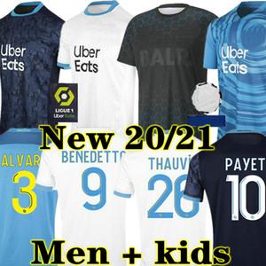 Payet 20 21 Olympique de Marseille Soccer Jerseys 2021 Mailleot Foot Catchance Kamara Football Shirt Thauvin Men + Kids