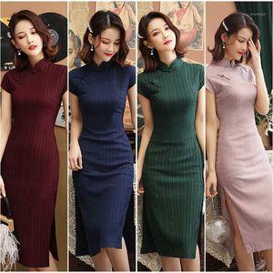 Abito da sposa tradizionale cinese Elegante Elegante classico Slim Cheongsam Lady Lady Banquet Party Long Cheongsam Dress1