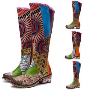 Rétro style ethnique femme bottes véritable couture de cuir couture style ethnique chaussures chaussures femme femme femme genou-hauteur hiver