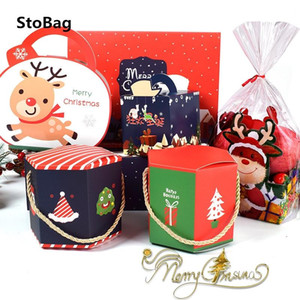 Stobag 10pcs Handle Paper Box Santa Claus 12x10cm New Year Gift Candy Chocolate Supplies Red Celebrate Decoration Packaging Box wmtSXZ
