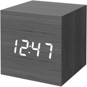 Digital Alarm Clock, with Wooden Electronic LED Time Display,Cubic Small Mini Wood Made Electric Clocks for Bedroom, Bedside, Desk, 4 colors