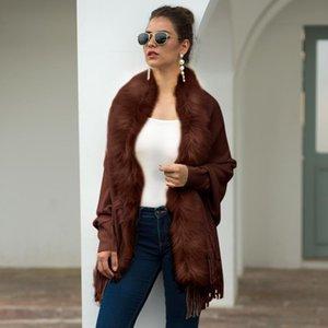 Kadın Ceketler 2021 Tasarım Belban Dess Kış Panço Moda Düzenli Örme Kaşmir Pelerinler Şal Hırka Kazak Ceket