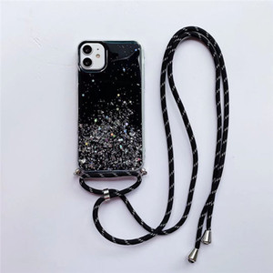 Glitter Bling omuz Askısı Telefon Kılıfları iPhone 12 Pro Max 11 x XR XS 8 Telefon Kılıfları Yumuşak TPU