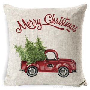 Christmas Case Plaid Linen Throw Covers Square Sofa Decorative Pillow Headrest Cushion Cover Xmas Pillowslip Decor OWA2331
