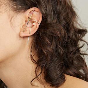 BOHO Kristal Uzun İplik Kulak Pin Kulak Manşetleri Küpe Piercing Klipler Wrap Crawler Manşet Kanca Kadın Takı Için