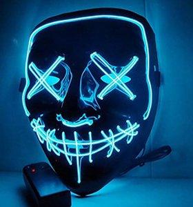 Flash Flash 10Style El Wire Skull Fantasma Fantasma Brillante Halloween Cosplay LED Mascarilla Partido Masquerade Grimace Designer Máscaras GGA3757