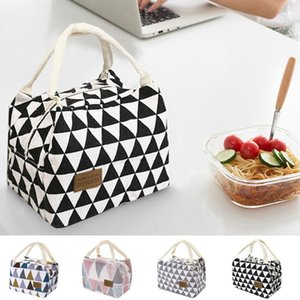 Portable Grid Pattern Lunch Bag For Women Kids Men Insulated Canvas Box Tote Bag Thermal Cooler Waterproof Handbags A40