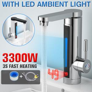 3300W Elétrica Instantânea Aquecedor de Água Torneira Levou Luz Ambiente Temperatura Display Banheiro Cozinha Instantâneo Aquecimento Torneira