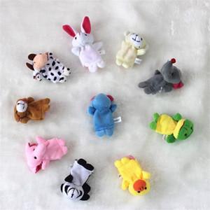 10pcs / lot bébé peluche peluche doigt doigt doigt marionnettes raconter histoire poupée animal poupée main marionnettes jouets enfants jouets cadeau avec 10 animaux groupe 155 g2