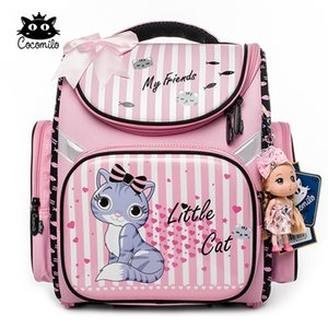 Kokomilo Cartoon Kinder Rucksack für Mädchen Katze Muster Rucksäcke Orthopädische Schultaschen Student Fold Satchel Mochila Infantil 201117