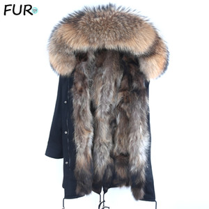Real Fur Parka Men Winter Jacket Real Raccoon Fur Hooded Coats Nature Raccoon Dog Lining Jacket Man Real Fur Coat 201130