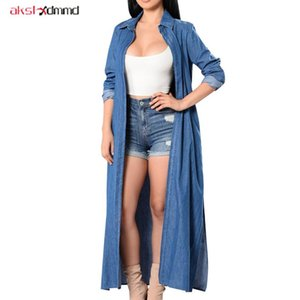 2020 New Trench Coat Femmes Long Solide Bleu Casual Casual Denim Manteaux Femelle Fashion Mince Ouvrir Stitch Split Brefreakers AC016