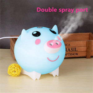 Cute Pig Ultrasonic Air Humidifier Aroma Essential Oil Diffuser Double Spray Outlet Large Fog Colorful Lights For Home Office