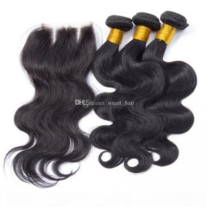 Body Wave Lace Closure 4x4 With Brazilian Hair Weaves 3Pcs 9A Brazilian Human Hair Bundles With Top Lace Closure 4Pcs Lot