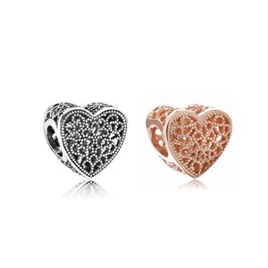 New Panjia beads rose gold hollow heart-shaped large hole loose beads DIY snake bone chain accessories