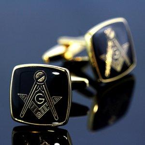 MEMOLISSA Vintage Masonic Clássico Quadrado Ouro Com Preto Personalidade Men's Camisa Cufflinks presentes para homens