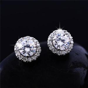 New Arrival Best Friends 18K White Gold Plated Earings Big Diamond Earrings for Women White Zircon Earrings b021