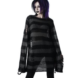 Punk Gothic Long Unisex Sweater Summer Women Striped Cool Hollow Out Hole Broken Jumper Loose Rock Thin Dark Streetwear Top 200924