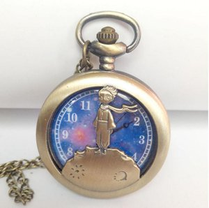 Wholesale 50pcs lot Quartz watches Chain Bronze Retro hollowed out little prince's big pocket watch pocket watches PW009