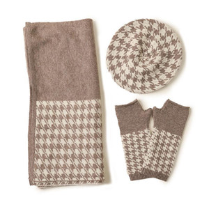 Three-piece 100 Pure cashmere hat gloves scarf sets Women fashion 2020 new autumn and winter knitted houndstooth