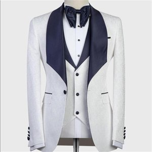 White Mens Suits Shawl Lapel Custom Made Groom Wedding Tuxedos One Button 3 Pieces (Jacket+Pants+Vest) Formal Mens Tuxedos
