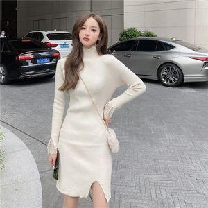 ICHOIX 2020 Kadın Sonbahar Ve Kış Turtleneck Dantel Seksi Lady Örme Elbise İnce Hip Dress Sıkı Fitting