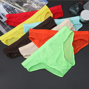 Sexy Men's Underwear One-piece Ultra-thin Transparent Ice Silk Men's Briefs Low Waist Sexy Shorts Men Elastic Underpants