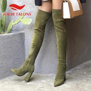 Jouir Talons Drop Shipping Scarpe da donna Trendy Shoes Yout-the-Knee Boots Zip Up Thick High Tacchi alti appuntiti Stivaletti della coscia