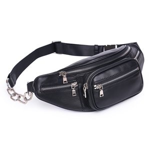 High Quality Fashion PU Chain Waist Bag Bananka Travel Leisure Fanny Pack Men And Women Walking Mountaineering Belly Band 201130