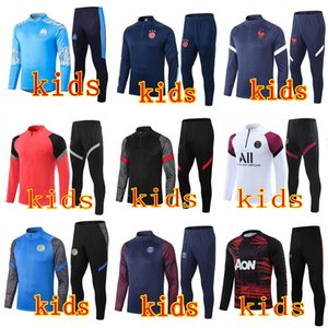 kids real madrid 2020 2021 psg jordan paris fc barcelona ajax manchester  trainers soccer tracksuit football training suit jogging