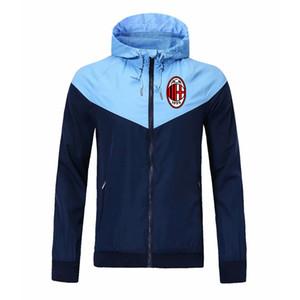 Chaqueta de entrenamiento de fútbol de los hombres de AC Milan Chaqueta con capucha con capucha de moda de moda de la moda con cremallera con cremallera de la cremallera de la chaqueta de otoño