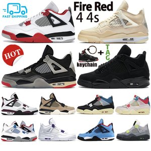 Top New Fire Vermelho 4 4s Mens Womens Travis Scotts White Sail Metálico Green Greed Bed Basketball Sapatos Black Cat Trainers Sneakers