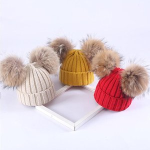 Kids Winter Warm Knit Hat With Real Fur Pompom Boys Girls Cute Lovely Caps Baby Soft Beanie Hats