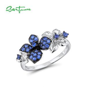 Santuzza Silber Ringe für Frauen Echt 925 Sterling Silber Zarte Blau Weiß Schmetterlingsring Trendy Jubiläum Feinschmuck y1124