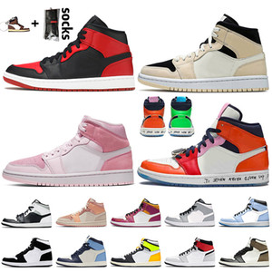 nike air jordan 1 jordan retro 1 off white travis scott 1 1s Jumpman Basketbol Ayakkabıları Orta Yasaklı Barely Orange Dijital Pembe KORKUSUZ erkek bayan sneakers eğitmenler